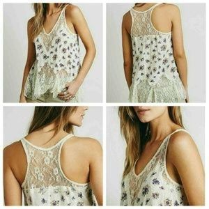 Free People Full Blossom Lace inset tank top